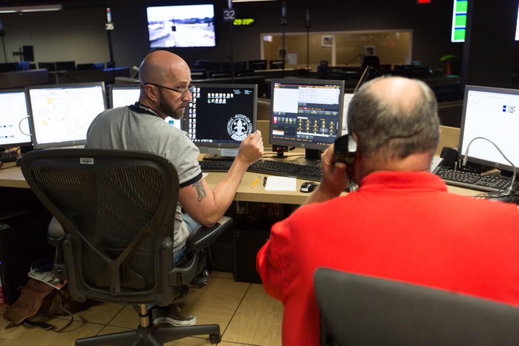 Louisville Metro EMS dispatchers. (J. Tyler Franklin)
