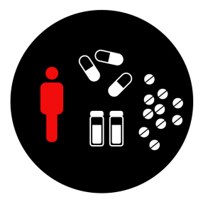 A graphic of a person, bottles and pills