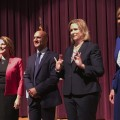 Democratic candidates for Ohio governor, from left, ex-state Rep. Connie Pillich, state Sen. Joe Schiavoni, Dayton Mayor Nan Whaley and former U.S. Rep. Betty Sutton met, Tuesday, Sept. 12, 2017, in Martins Ferry, Ohio, for their first debate. (AP Photo/Julie Carr Smyth)
