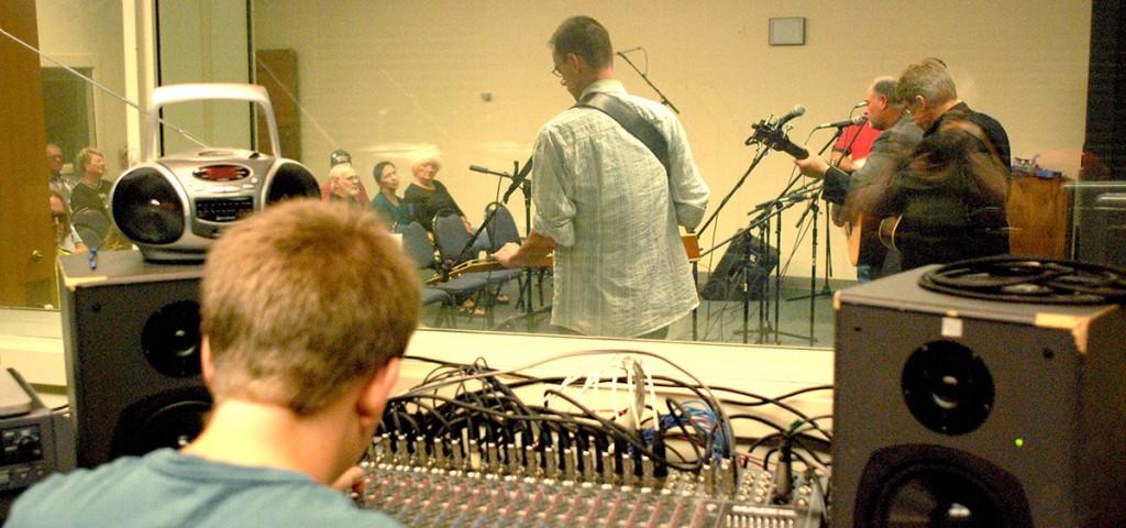 WOUB audio engineer Adam Rich at the controls of a Showdown performance. (WOUB/Soozan Palsa)