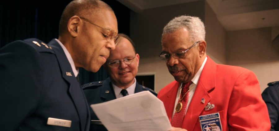 Don Elder, one of the Tuskegee Airmen, on the right.