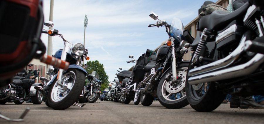 Motorcycles were parked behind Peden Stadium after an escort of the replica Vietnam War Memorial wall on September 13, 2017.