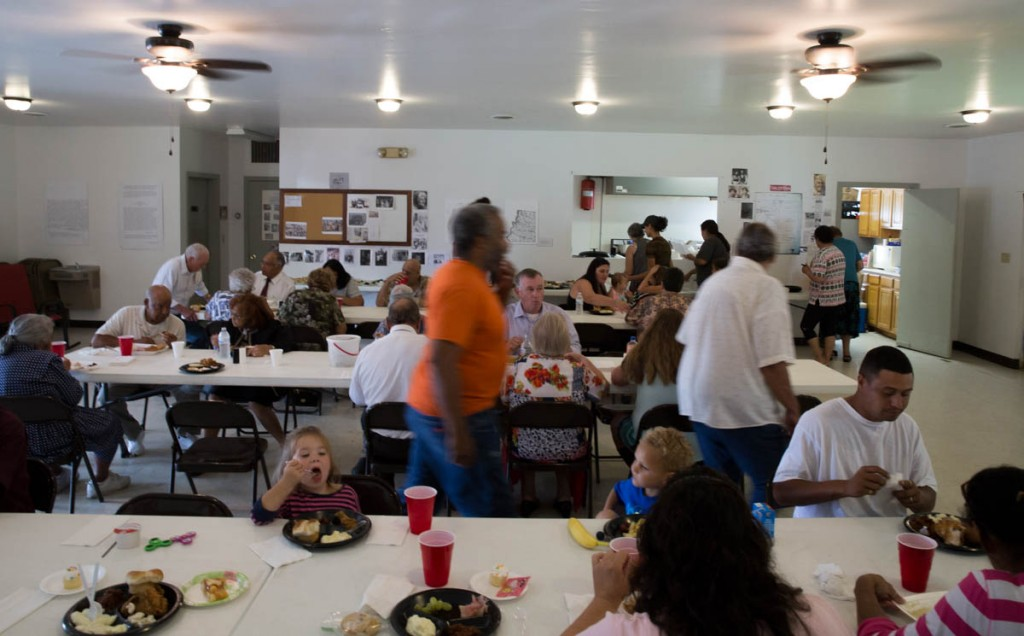 Citizens of Kilvert, Ohio enjoy Community Day at the Kilvert Community Center on September 17, 2017. The Community Center is dependent on fundraisers, memberships, and hall rentals to stay open and provide services to the town. (Haldan Kirsch/WOUB)