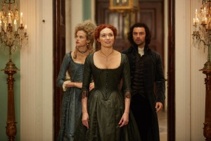Poldark, Season 3 Sundays October 1 - November 19, 2017 at 9pm ET On MASTERPIECE on PBS Shown from left to right: Gabriella Wilde as Caroline Penvenen, Eleanor Tomlinson as Demelza, and Aidan Turner as Ross Poldark Courtesy of Mammoth Screen for BBC and MASTERPIECE