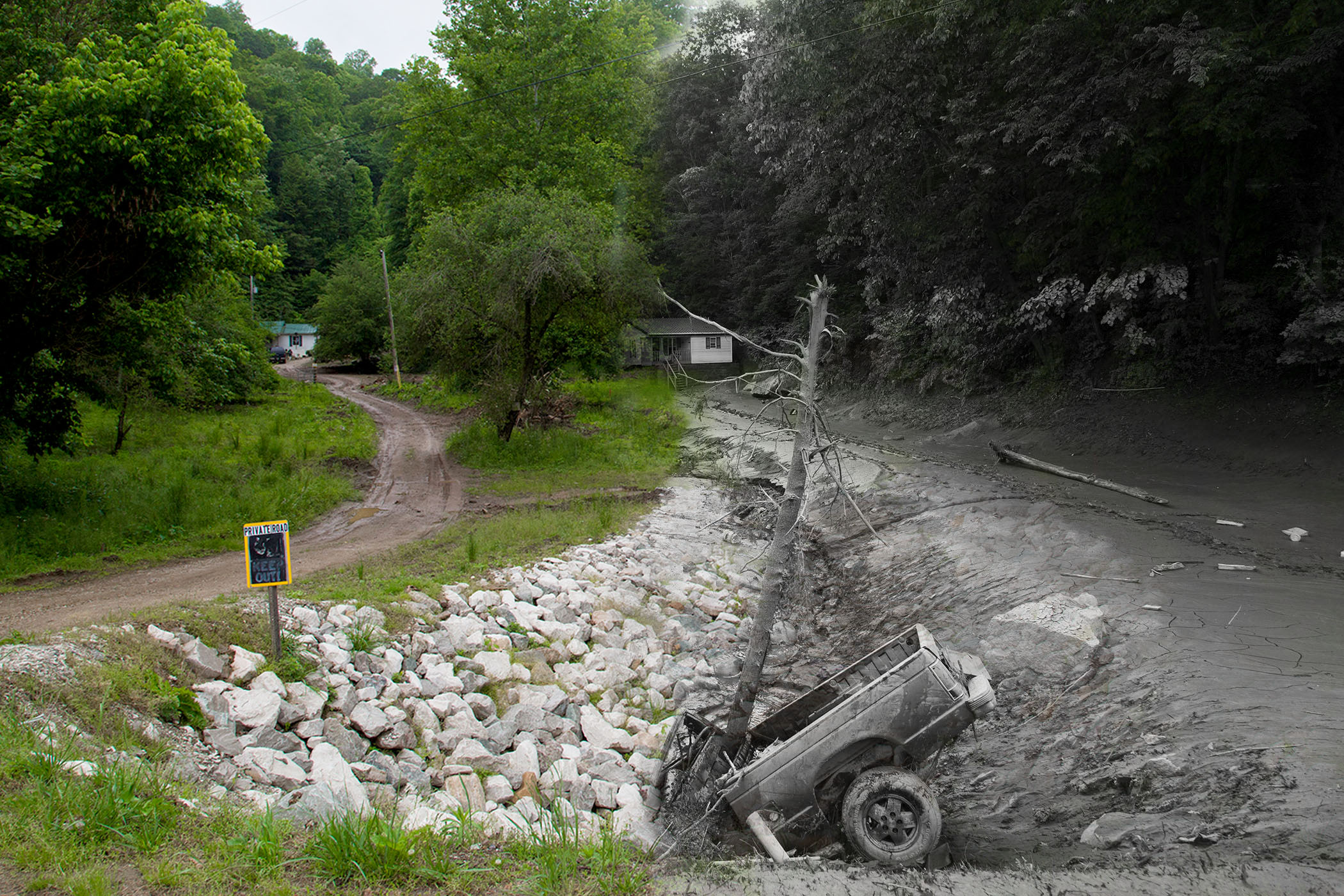 Photos of flood damage from 2016 (right) and recovery today (left) in Clendenin, West Virginia. (CREDIT: Photos by Kara Lofton, illustration by Jesse Wright, WVPB)