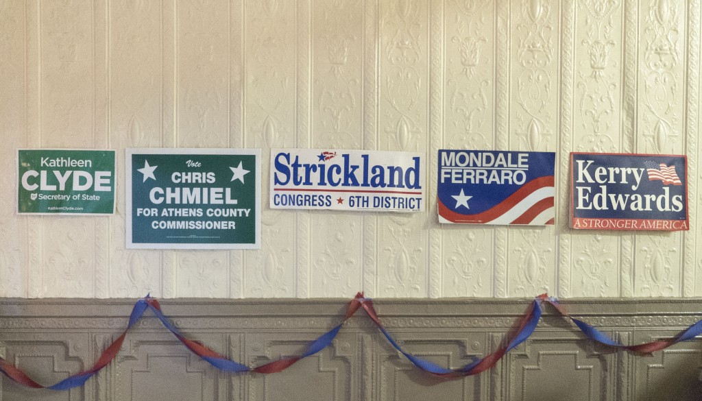 Signs for past democratic candidates for public office on display at the Athens County Democratic Party headquarters in Nelsonville, Ohio. (Austin Janning/WOUB)