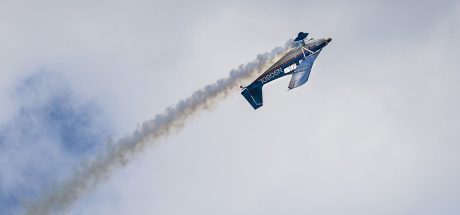 An airplane performs acrobatic tricks during the Vinton County Air Show, the largest free air show in Ohio, which took place on Sunday, September 17, 2017. (Erin Clark/WOUB)
