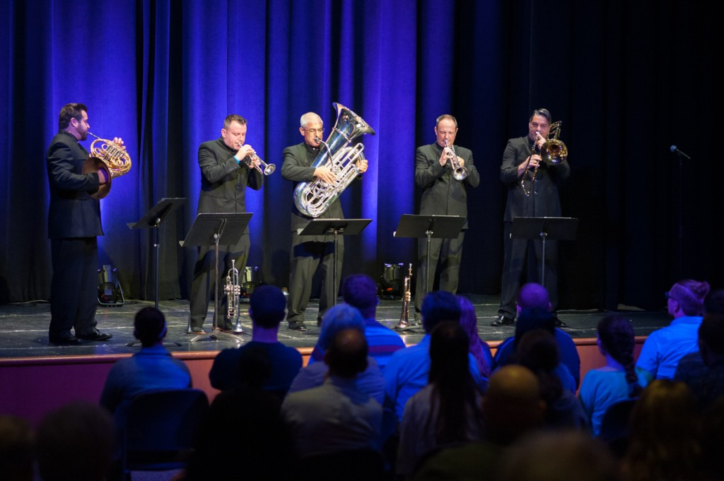 The Boston Brass performs in the Baker Student Center Theater on Tuesday, Sept. 12, 2017. (Drake Withers / WOUB)