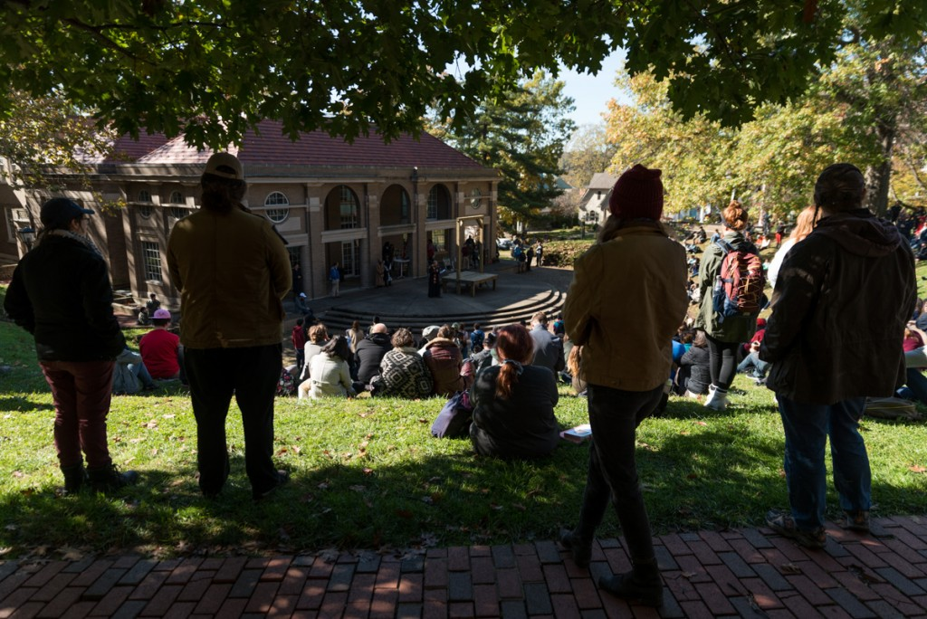 Ohio University students, professors and Athens community members gather around Scripps Ampitheatre at high noon on Thursday, October 26 for the hanging of the Confederate Flag at the gallows. (Nickolas Oatley/WOUB)