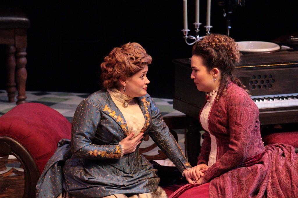 Ellie Clark (Mrs. Daldry) with Annie Ganousis (Catherine Givings). (Lisa Buch/WOUB Public Media)