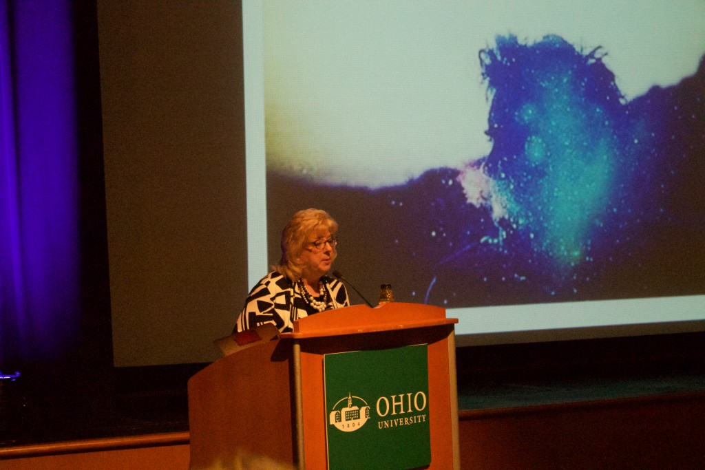 WOUB's Kathy Malesick opens up the Finding Kindness event. (WOUB/Emily Votaw)