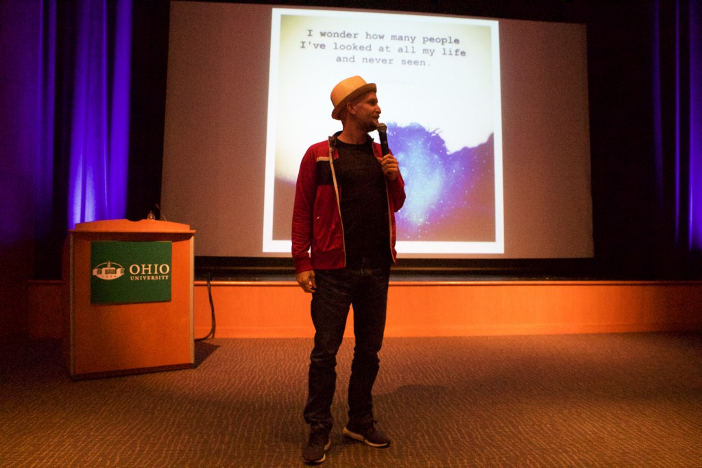 Leon Logothetis gave a short speech about the nature and accessibility of human kindness for a healthy sized crowd on Tuesday, Oct. 17, 2017. (WOUB/Emily Votaw)