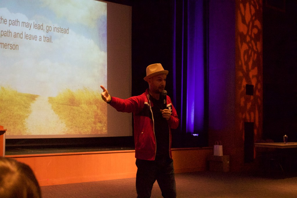 Leon Logothetis speaking in the Baker University Theater on Tuesday, Oct. 17, 2017. (WOUB/Emily Votaw)