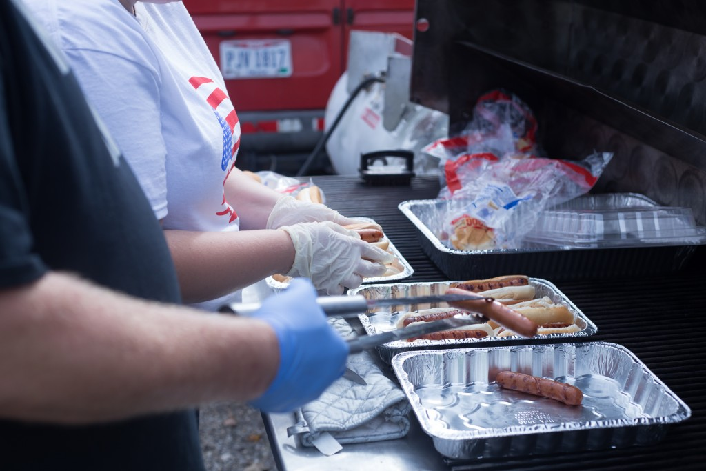 Food preparations for the Athens community members who attended and volunteered at the Athens Area Stand Down on October, 6, 2017. (HANNAH SCHROEDER | FOR WOUB)