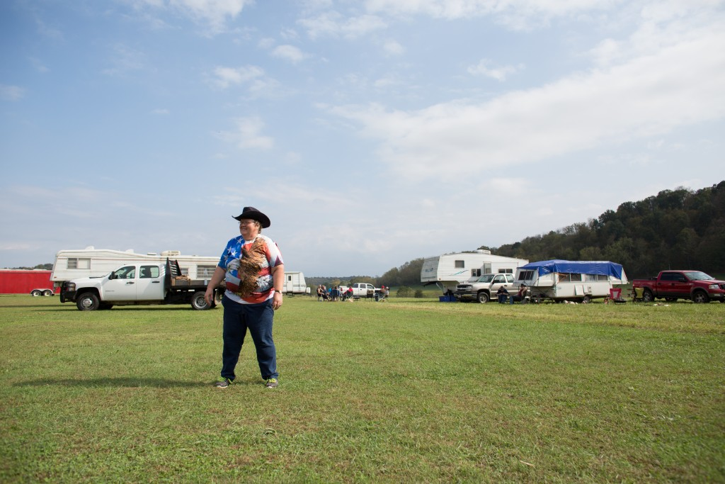 DQ Edwards of Deleware, PA, stands on the Campbell Clan campgrounds at the Bob Evans Farm Festival in Rio Grande, Ohio, on October 15, 2017.  This year, 89 members of the Campbell family got together for their 47th annual family reunion.  (Michael Johnson/ WOUB)