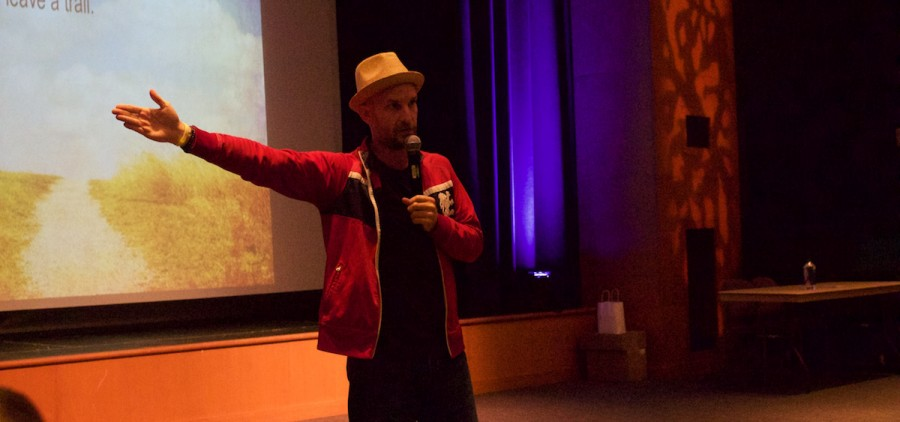Netflix star Leon Logothetis in the Baker University Theater on Tuesday, Oct. 17. (WOUB/Emily Votaw)