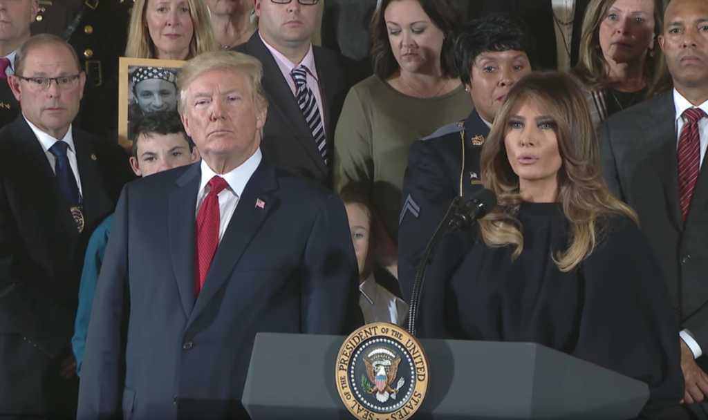 President and First Lady Trump speak at the White House as people affected by the opioid crisis look on. (Courtesy White House Video)
