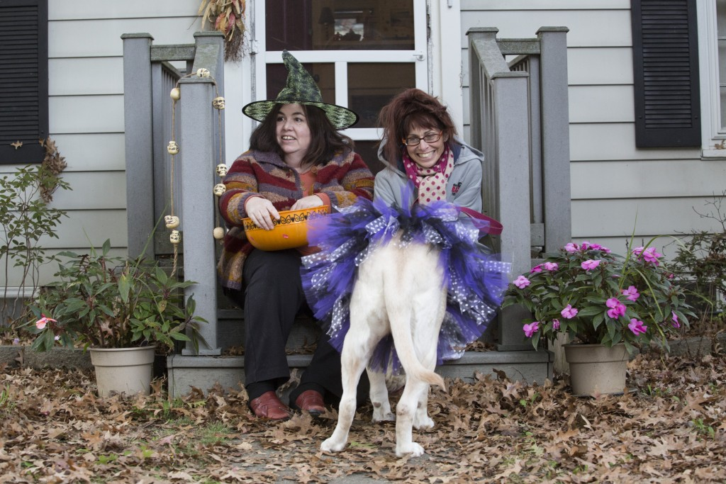 Cathy Baker and Julie Nuzum sit in front of their house with their dog, Fu, to wait for children to come and trick-or-treat in Athens, Ohio on Oct, 26, 2017.(Wangyuxuan Xu/ WOUB)
