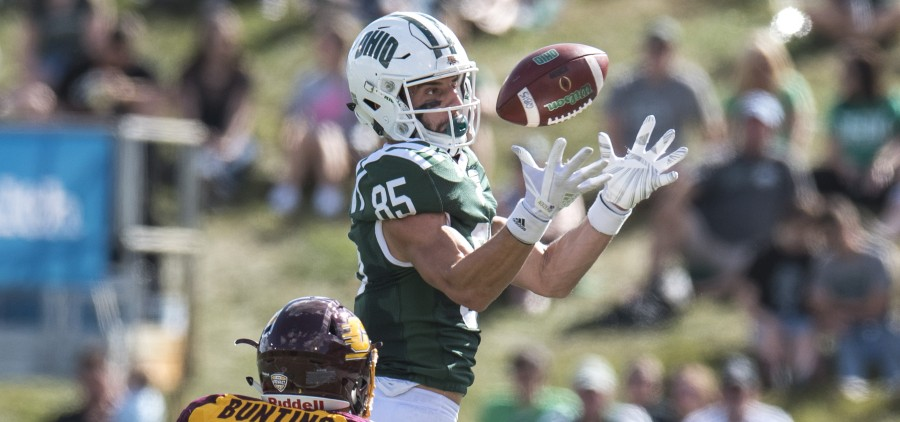 Ohio wide receiver Brenden Cope (85) prepares to catch the football while being guarded by Central MIchigan defensive back Sean Bunting (3) during Ohio University's homecoming football game against Central Michigan on Saturday. (Austin Janning/WOUB)