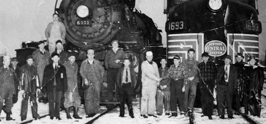lc-ph-117 First Diesel, Last Steam Engine @ Corning 1952