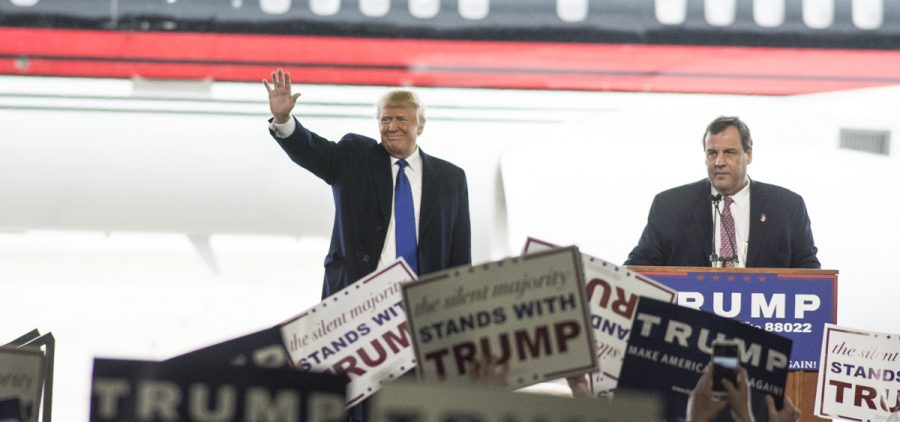 "Governor of New Jersey Chris Christie makes a surprise appearance and introduces Donald Trump to a large crowd in Columbus, Ohio for a Donald Trump rally on March 1, 2016. ""America needs strength in the oval office again...,"" said Governor Christie."