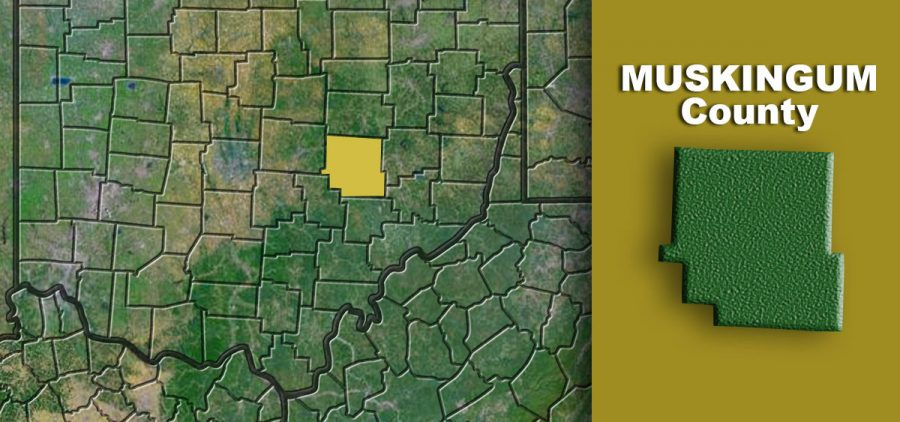Muskingum County labeled on a map
