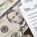 A tax form and money