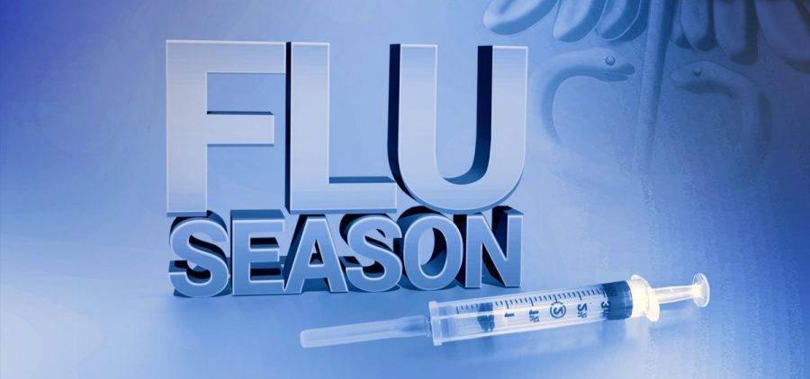 A flu season graphic with a syringe