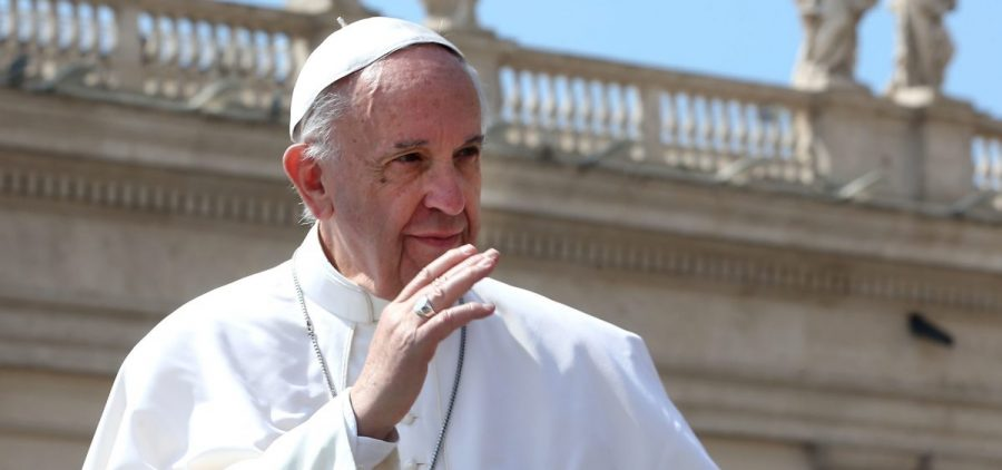 In an interview this week, Pope Francis criticized the phrasing about temptation in the Lord's Prayer. The pontiff is pictured here at the Vatican in April.