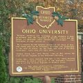 Ohio University marker outside of the gateway to College Green