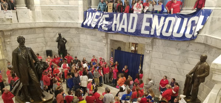 Kentucky teachers fill the capitol for a rally.
