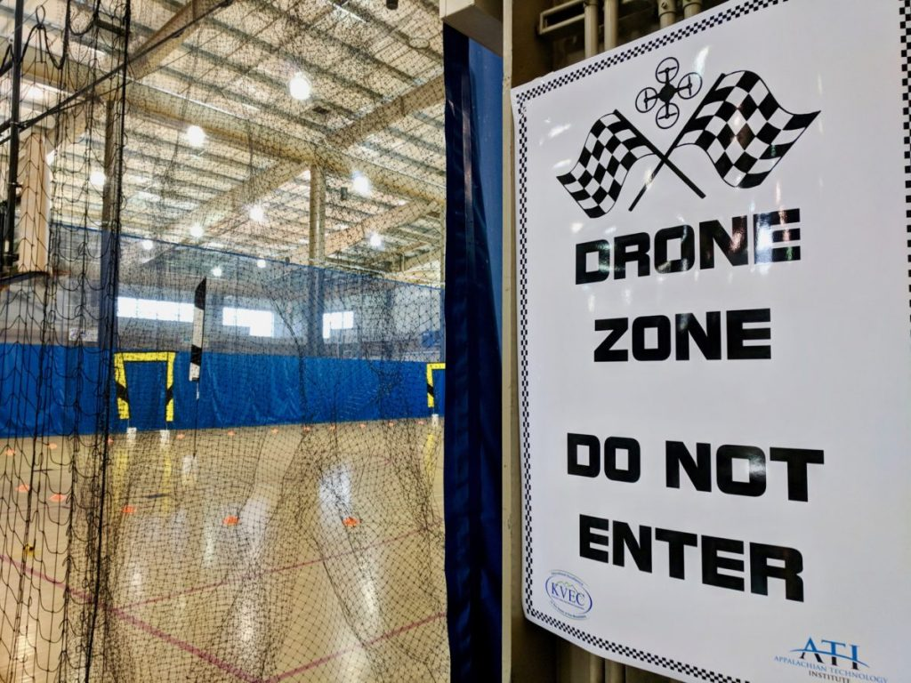 Drone Race Course with sign