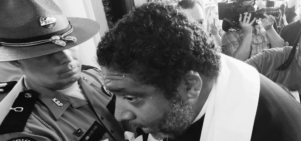 Poor People's Campaign leader Rev. William Barber blocked from the Kentucky capitol on June 4, 2018