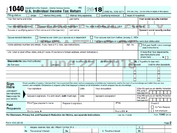 "A draft of the new 1040 tax document, obtained by NPR, that the Trump administration says fits on a ""postcard."""