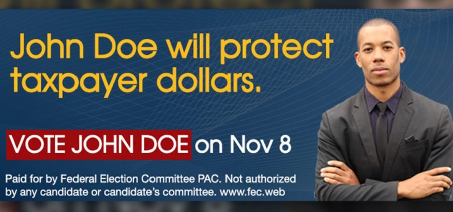 Example of a FEC disclaimer proposal placed on a sample ad. The campaign finance agency is considering new disclosure rules for online political ads.