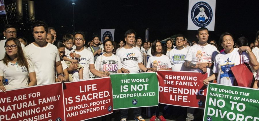Anti-divorce protesters marched in Manila in February. The Philippine House of Representatives passed a bill in March that would legalize divorce.