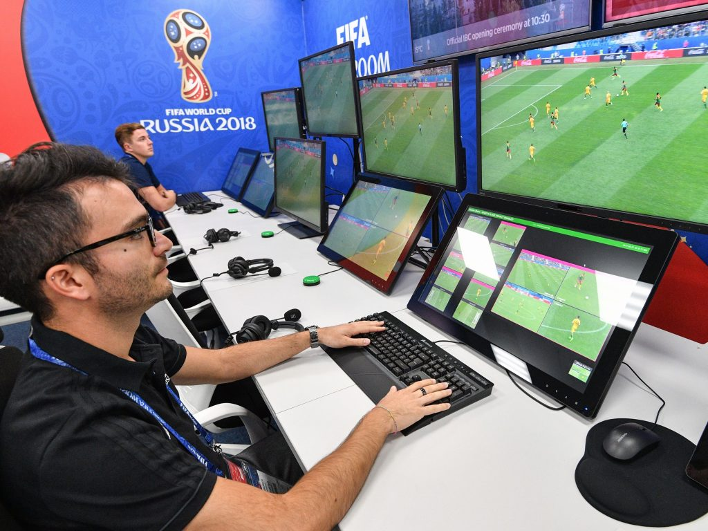 A view of the video assistant referee (VAR) operation room at the 2018 FIFA World Cup Russia broadcast center in Moscow this week.