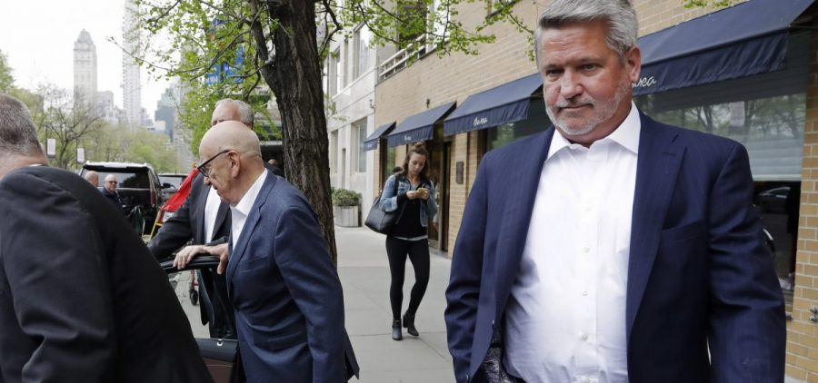 Then-Fox News co-president Bill Shine leaves a New York restaurant in April 2017 with Rupert Murdoch, executive chairman of 21st Century Fox. Shine left Fox News that May.
