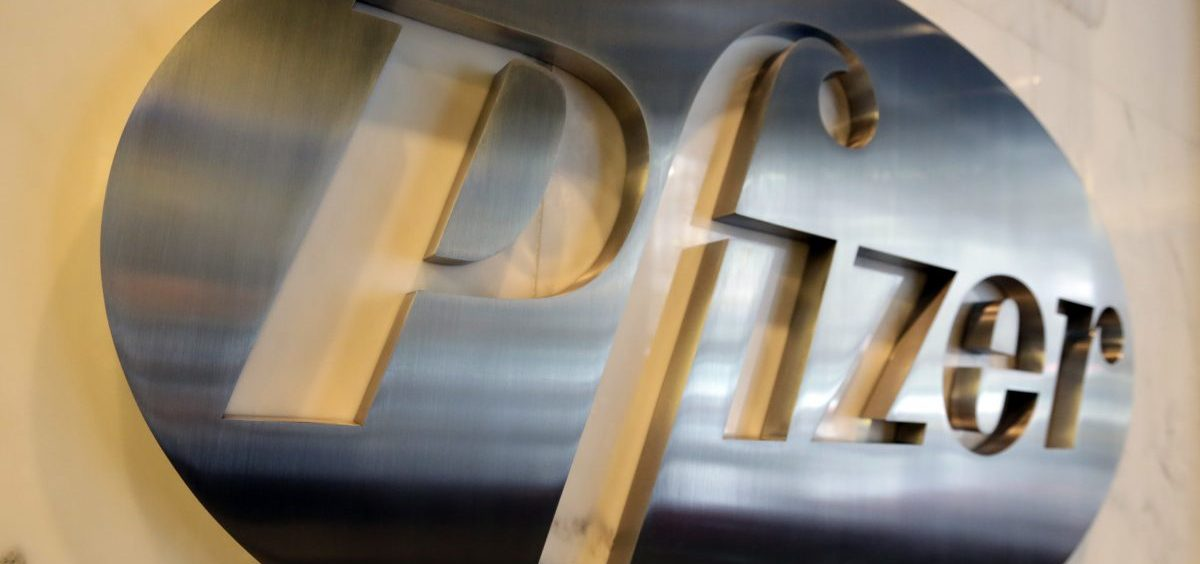 The Pfizer company logo displayed at Pfizer Inc. headquarters, in New York, last year.