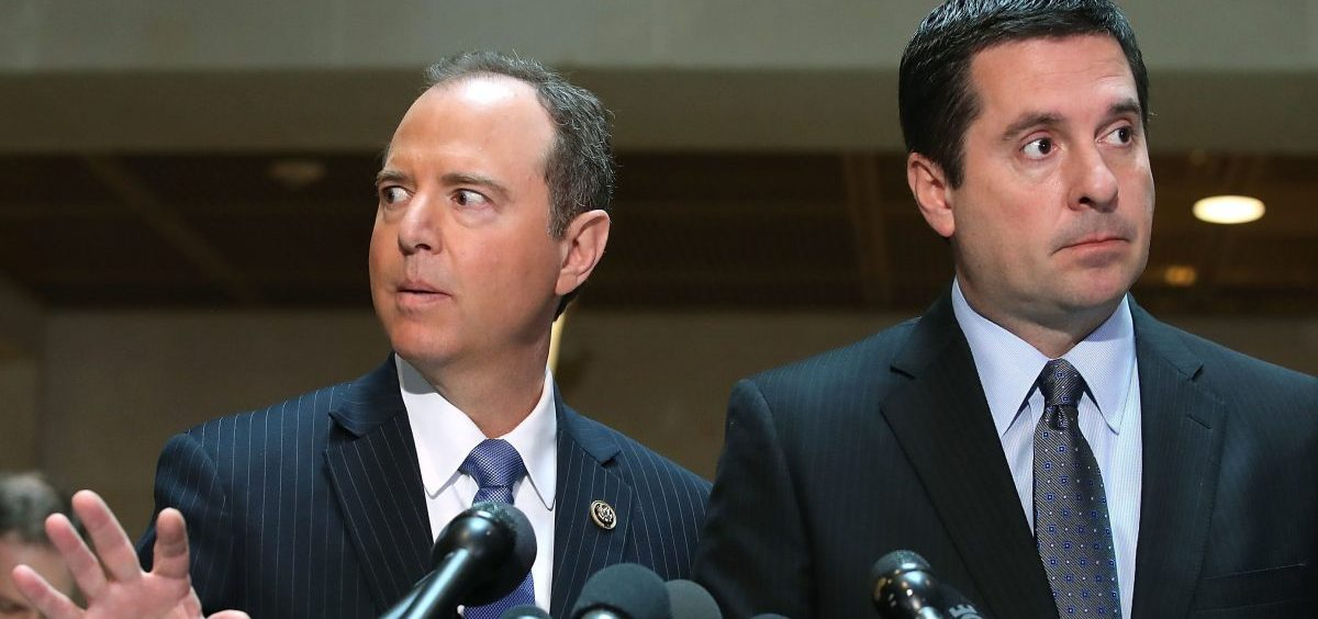 Democrats, led by House intelligence committee ranking member Adam Schiff (left) have been dueling with Republicans, led by House intelligence committee chairman Devin Nunes (right) for months over the FISA document.
