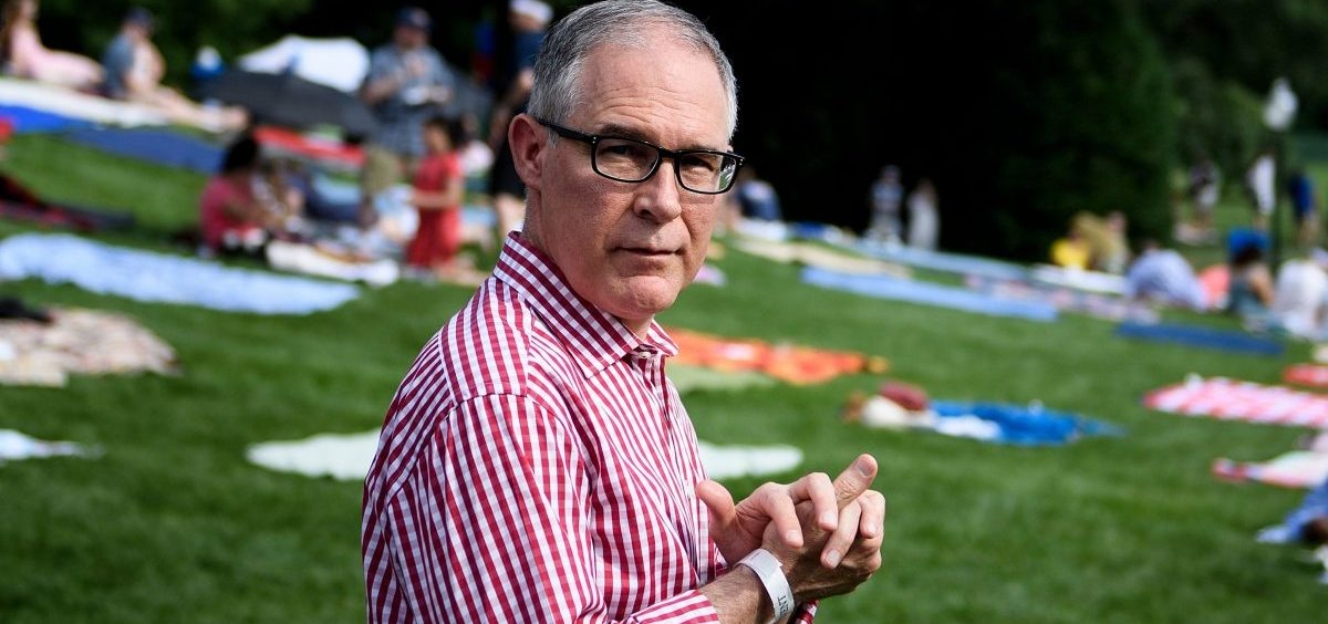 Scott Pruitt attends a picnic for military families at the White House on July 4, a day before he was forced out of as head of the Environmental Protection Agency for various alleged ethical lapses.