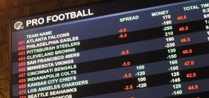 This Aug. 1 2018 photo shows a board at Harrah's casino in Atlantic City, N.J., listing the odds on pro football games in the first week of the NFL season. Resorts casino will begin taking sports bets in person on Wednesday, Aug. 15, becoming the fifth Atlantic City casino to do so.