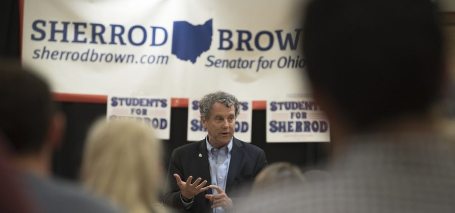 Sen. Sherrod Brown speaks at Ohio University's Baker Student Center in Athens, Oh on August 29, 2018.