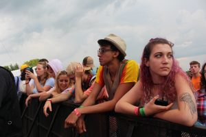 Fans eagerly await the doctor -- Dr. Dog at the Bellwether Festival in Waynesville, OH on Friday, August 10. (WOUB Public Media/Emily Votaw)