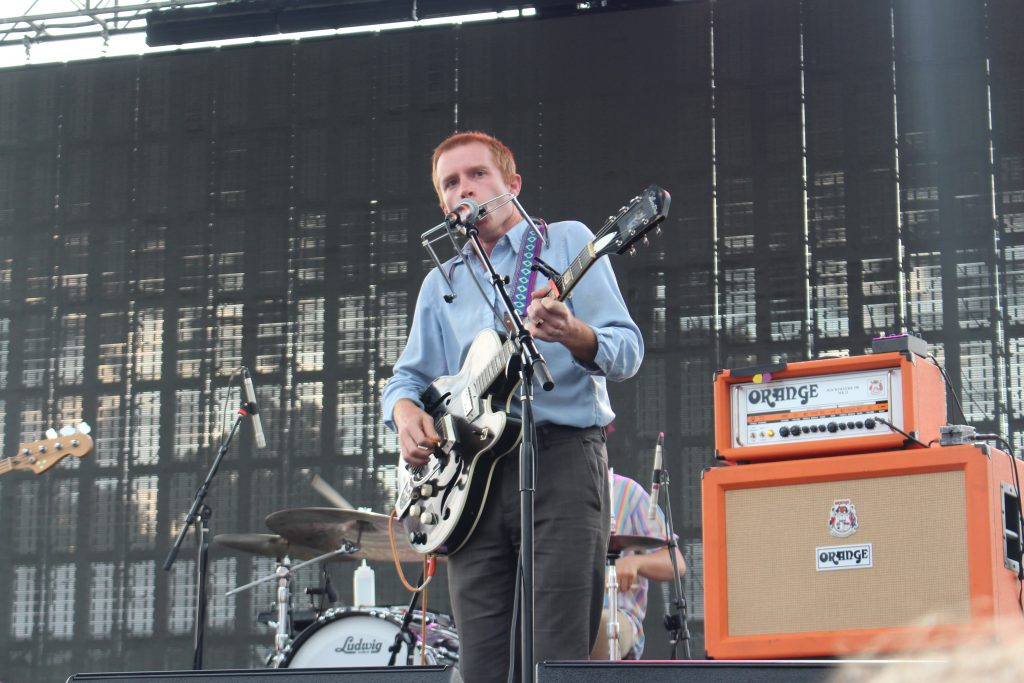 Scott McMicken of Dr. Dog at the 2018 Bellwether Festival in Waynesville, OH on Friday, August 10. (WOUB Public Media/Emily Votaw)