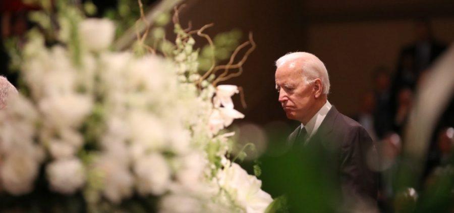 Former Vice President Joe Biden prepares to speak at a ceremony for John McCain at North Phoenix Baptist Church on Thursday.