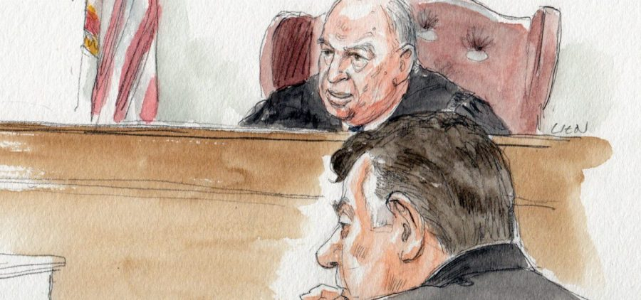 Judge Ellis gives jury instructions in front of Paul Manafort on Tuesday.