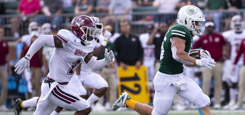 Ohio University's running back A.J. Ouellete carries the ball for a rushing touchdown at Peden Stadium in Athens, Ohio on Saturday Sept 29, 2018. The Bobcats defeated the UMass Minuteman 58-42. (Yukai Peng/WOUB)