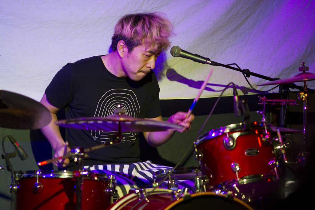 Paro, from the band, THE MOLICE, plays drums during Falloutfest 2018 on Friday, Sept. 21, 2018, at The Union in Athens, Ohio. (Charles Hatcher/WOUB)