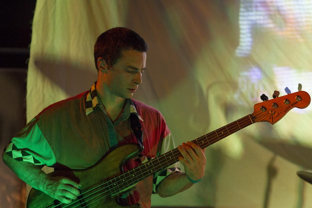 Stephe Cooper, from the band Guerilla Toss, plays bass during Falloutfest 2018 on Friday, Sept. 21, 2018, at The Union in Athens, Ohio. (Charles Hatcher/WOUB)